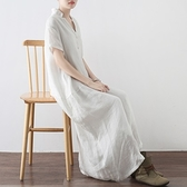 洋裝-長款寬版文藝優雅氣質前排釦女連身裙2色73sm16【巴黎精品】