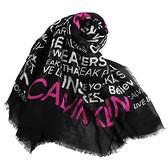 Calvin Klein精神標語字母寬版披肩薄圍巾(桃紅黑)103263