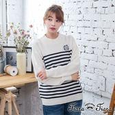 【Tiara Tiara】激安 橫紋貓頭鷹縮口長袖針織衫(白)