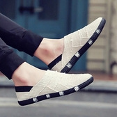 懶人鞋 夏季款亞麻布帆布鞋男韓版潮流休閒鞋男一腳蹬懶人鞋透氣布鞋男士