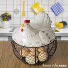 陶瓷雞蛋籃水果籃大蒜土豆雜物藍陶瓷廚房裝飾創意母雞收納鐵編籃 全館新品85折