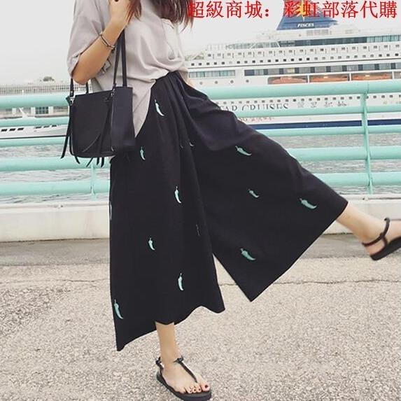 胖mm2020新款女裝夏季寬松顯瘦潮加肥加大碼200斤寬松七分闊腿褲 中大碼女裝 大尺碼女裝
