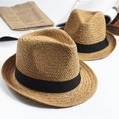 紳士帽 親子草帽純手工編男女兒童寶寶春夏出游爵士小禮帽遮陽防曬沙灘帽 快速出貨