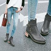 丁果、大尺碼女鞋34-43►扣帶環鉚釘中跟馬丁靴短靴子*4色