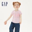 Gap女幼童 Logo棉質舒適圓領短袖T恤 539742-粉色條紋