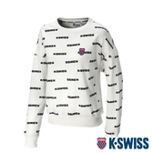 K-SWISS Allover Print Sweat圓領長袖上衣-女-白