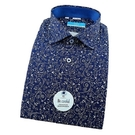 【南紡購物中心】【襯衫工房】長袖襯衫-深藍色底抽象花紋印花