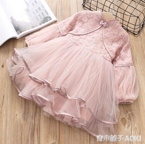 童裝裙子新款女童民族風燈籠袖蕾絲氣質洋裝兒童公主裙 青木鋪子