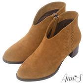 Ann'S陽光和煦-前V口顯瘦側編織粗跟短靴-棕