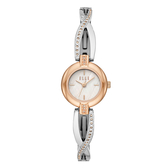 ELLE  人魚之淚晶鑽貝殼面腕錶-銀X玫瑰金