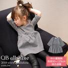 女童洋裝 韓版千鳥格紋側雙口袋七分袖連身...