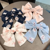 髮飾氣質雪紡碎花發卡超大粉色蝴蝶結發夾頂夾頭飾夾子韓國簡約風發飾 伊羅 新品