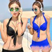 二件式泳裝 黑/藍 鋼圈兩件式比基尼泳衣M~XL SPA 仙仙小舖