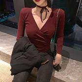 韓風性感深V領系帶長袖打底衫女秋冬高腰修身顯瘦t恤女短款上衣 後街五號