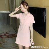 純棉polo襯衫洋裝女新款收腰顯瘦氣質休閒小香風學生裙子潮