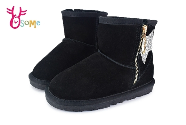 男女童冬季雪靴 刷毛 真皮 中小童鞋 牛皮 閃亮星星 暖冬韓流必備 M8077#黑 ◆OSOME奧森鞋業
