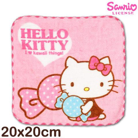 Sanrio 凱蒂貓窯花小手巾 糖果款 台灣製造好安心 三麗鷗 Hello kitty 方巾 手帕 兒童毛巾