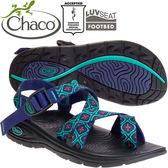 Chaco EZW02_HC56馬賽克鈷綠 女冒險旅遊涼鞋-Z/Volv2夾腳款休閒鞋