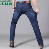 木林森牛仔褲男士春夏款寬鬆直筒彈力大碼高腰商務休閒男褲長褲子 一米陽光
