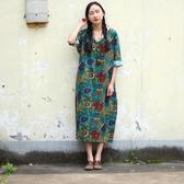 #短袖洋裝#印花#棉麻 V領 開衩 七分袖洋裝 連身裙
