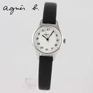 【萬年鐘錶】agnes b. 復古迷你羅馬字 黑色皮革錶 銀x白 25mm  VJ21-KT60S (BH8025X1)