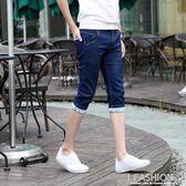 夏季薄款男士修身七分褲牛仔短褲男直筒休閒潮男裝五分褲子7分褲-Ifashion