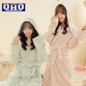日系帶帽加厚珊瑚絨睡袍女秋冬季長袖法蘭絨浴袍睡衣韓版家居服