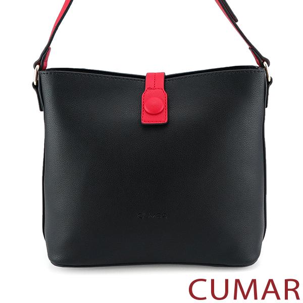 CUMAR 撞色飾釦斜背包-黑色