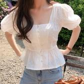 韓國夏裝短袖T袖設計感小眾泡泡袖鏤空方領襯衫女短袖收腰露鎖骨復古法式上衣