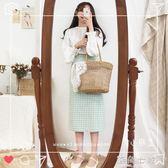 韓國chic新款復古格子半身裙女中長款ins超火開叉高腰包臀A字裙 海角七號