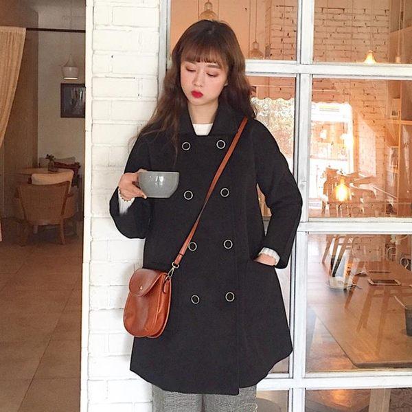 2018春季新款韓版學院風修身顯瘦中長款雙排扣毛呢外套大衣女學生