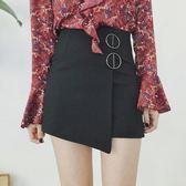 秋季必備新款女裝不規則金屬圈裝飾高腰修身顯瘦學生包臀A字半身裙女