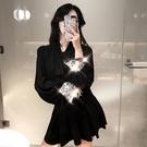 2018秋裝新款時髦亮片袖口洋裝寬鬆顯瘦百搭收腰復古chic襯衫裙
