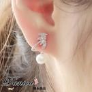 耳環 現貨 韓國時尚甜美氣質微鑲羽翼葉子珍珠鋯石925銀針耳環 S91838  批發價 Danica 韓系飾品