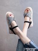 厚底涼鞋 網紅爆款大學生涼鞋女仙女風2021年夏季新款超火厚底運動鬆糕女鞋 夏季新品