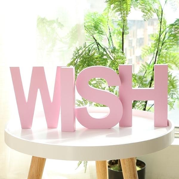DIY木質英文字母組合創意擺件家居婚慶臥室裝飾擺設拍攝道具壁飾(小號)─預購CH1948