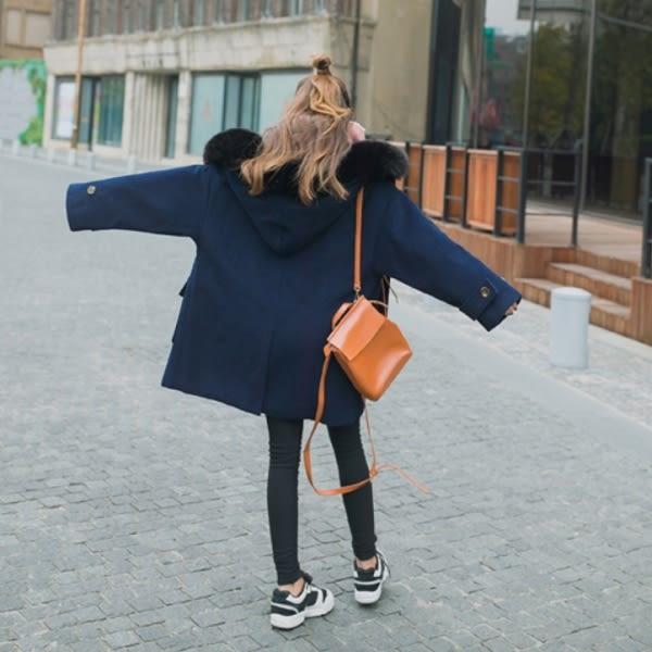 免運★梨卡 - 甜美大毛領高品質牛角扣中長版超長版大口袋毛呢外套風衣長大衣A505