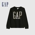 Gap女童 Logo活力亮色圓領休閒上衣 619688-黑色