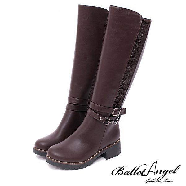 長靴 個性美型金屬繞帶燙鑽長靴(咖) *BalletAngel【18-1780co】【現貨】