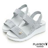 PLAYBOY 編織 厚底涼鞋-銀