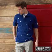【JEEP】滿版造型刺繡短袖POLO衫 (藍)