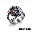 OH MY GOD紅寶石鑲壁虎鈦鋼戒指...
