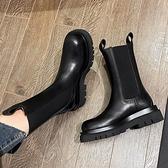 厚底切爾西短靴女馬丁靴潮英倫風煙筒中筒靴mona同款鞋子-Milano米蘭