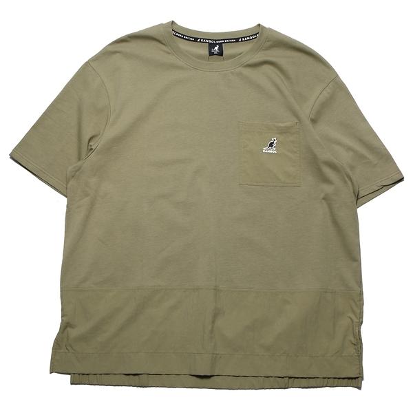 KANGOL 短袖 短T 軍綠 口袋 下襬拼接 袋鼠 棉 休閒 男女 (布魯克林) 6121100572