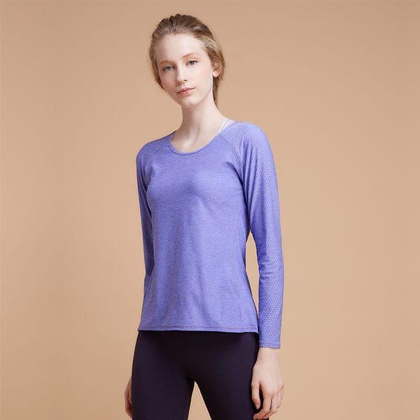 【MACACA】fit對流長袖訓練衣   - BPT3372 (紫麻花) (戶外運動/健身訓練/中強度運動)