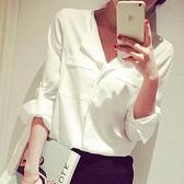 白色襯衫 彩黛妃2020春夏新款韓版女士大碼時尚休閒襯衣打底雪紡白襯衫上衣