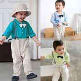 連身衣 紳士領結 假吊帶 連身衣 爬服 男寶寶 哈衣 小紳士 小花童 Augelute Baby 61093
