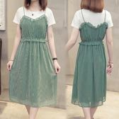 遮肚很仙的法國小眾連身裙夏裝2019新款胖mm大碼女裝兩 嬡孕哺