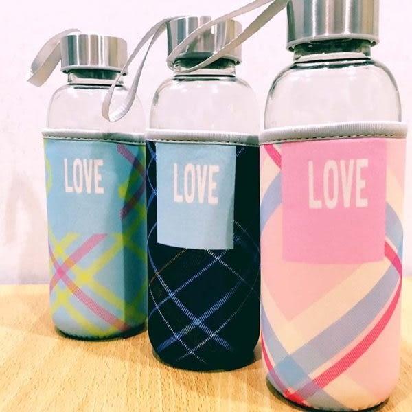 水杯   Love蘇格蘭紋杯套玻璃水杯450ml 水瓶 瓶子 咖啡杯 隨行杯 水壺 【KCG099】-收納女王