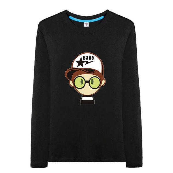 七感春夏季時尚卡通純棉長袖T恤時尚休閒大碼青少年男裝